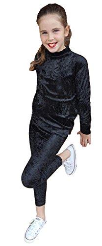 Girls Velour Tracksuit - GUBA® New Kids Girls Velour Tracksuit Top & Bottom Set Velvet Lounge Wear CO Ord Suit Size 7-13 Years (7-8 Years, Black)