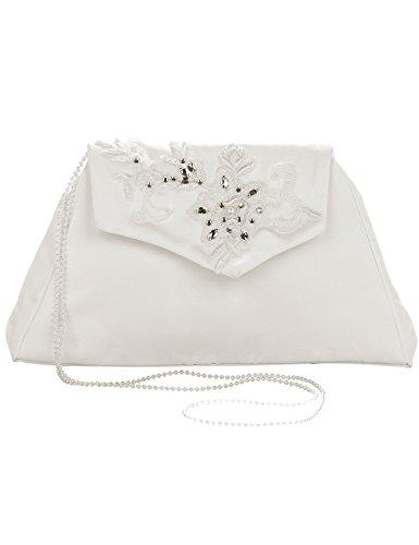 Princess Taufkleid Brauttasche aus Satin Elfenbein mit Stickerei und Perlenkette