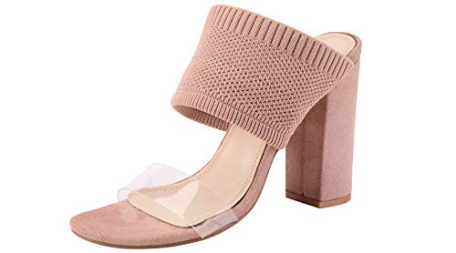 Sofree Women's Chunky High Heel Fashion Dress Pumps Sandals ...