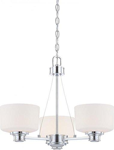 3 Light - Chandelier - Satin White Glass