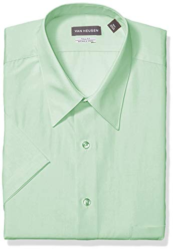 Mint 393 (Van Heusen Men's Fit Short Sleeve Dress Shirts Poplin Solid (Big and Tall), Mint Julip, 17