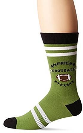 K. Bell Socks Men's American Football Crew, Olive, Sock Size: 10-13/Shoe ()