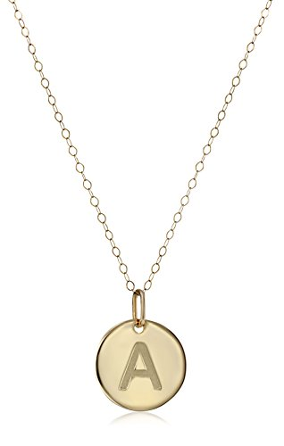 Initial 14k Yellow Gold Pendant - 14k Yellow Gold Disc Initial A Pendant Necklace, 18