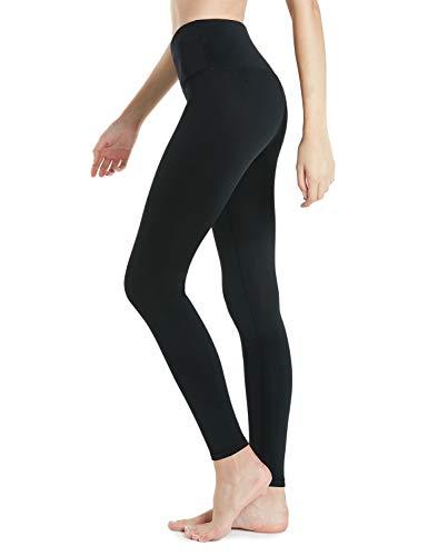 Fleece Thermal Shorts - Tesla TM-XYP82-BLK_Large Fleece High-Waist Lined Leggings Tights Thermal Yoga Pants w Hidden Pocket Tummy Control XYP82