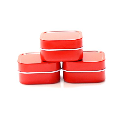 Favors Wedding Candle Gel - Mimi Pack 2 oz Square Metal Tin Rounded Corners Solid Slip Top Lid Steel Containers For Cosmetics, Favors, Spices, Balms, Gels, Candles, Gifts, Storage 24 Pack (Red)