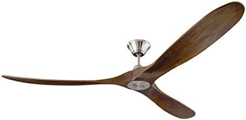 Monte Carlo 3MAVR70BS Maverick Max Modern Ceiling Fan, 70-inch, Matte Black with Dark Walnut Blades