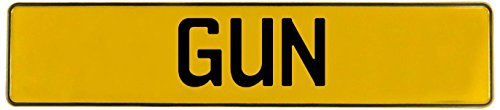 Vintage Parts Gun Stamped Aluminum Street Sign Mancave Wall Art, Yellow