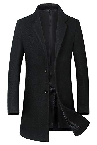 ELETOP Men's Classic Trench Coat Single Breasted Wool Walker Coat Winter Jacket 1810 Black M