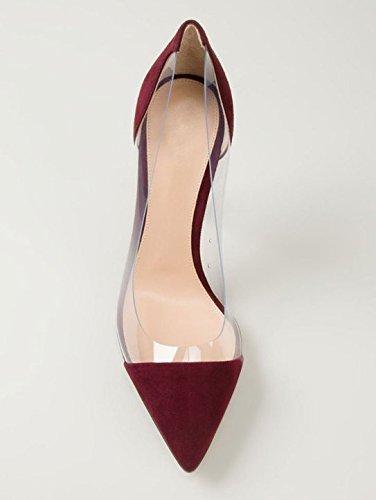 Tacones Sexy y Wine alta elegante Tacones Shoes Charol de cashmere ElegantesSalvaje Altos Clásicas fashion Cerrado Altos Heel de Ruanlei Mujer de Tacones mujer Xw61xCdXq