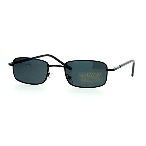 [Small Thin Metal Rectangular Frame Sunglasses Unisex Design Spring Hinge Black] (Thin Frame Sunglasses)