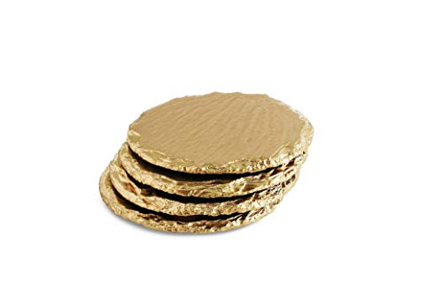 Renee Redesigns Handmade Gold Slate Stone Coasters For Drinks | Protect Your Table Tops From Drink Rings and Spills | Unique 4-Piece Holiday Gift Set, Round - 4 x 4 inches
