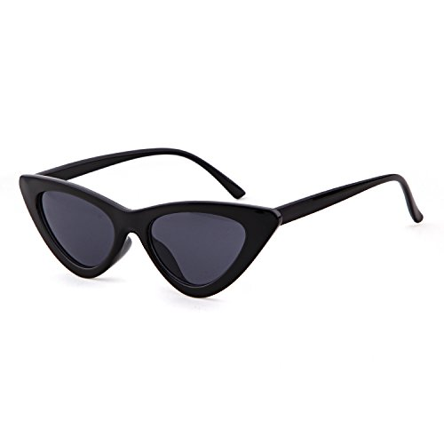Clout Goggles Cat Eye Sunglasses Vintage Mod Style Retro Kurt Cobain Sunglasses (Black& smoke, - Slim Sunglasses Cat Eye