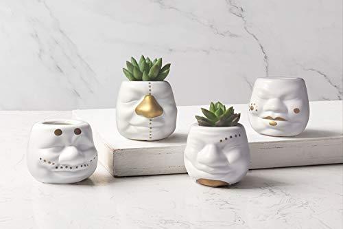 CHANNA Unique Clown Head Succulent Planter Pot,Creative Small Flower Plant White Ceramic Pot,Indoor Desk Planter Pot for Modern Home/Room Decor,Air Plant Holder,Housewarming Gift,2.76 inch-Set of 4 -