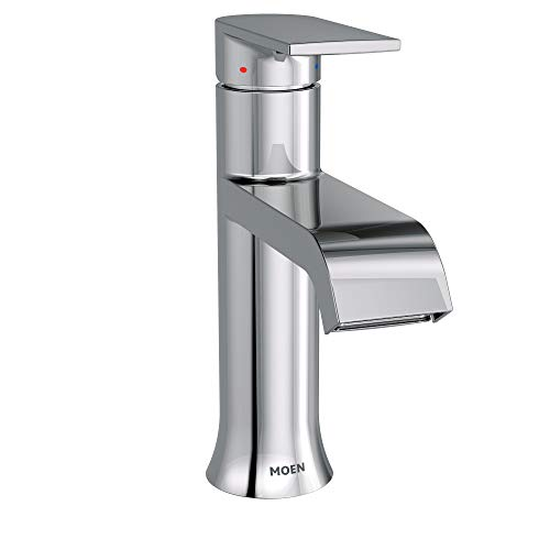 Touch Soft Lavatory Drain - Moen 6702 Genta High-Arc Single-Handle Bathroom Faucet with Drain Assembly, Chrome