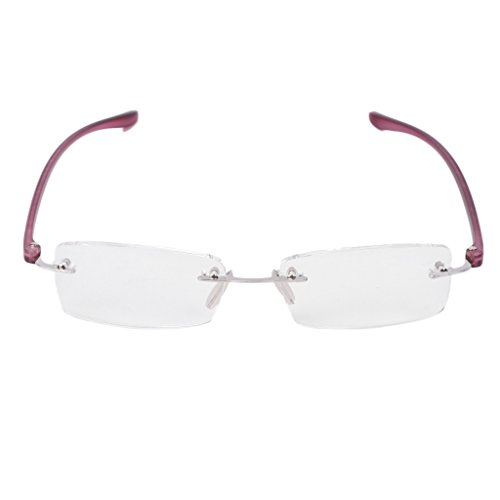 Onpiece Metal Rimless Reading Glasses Clear Lens Presbyopia Eyeglasses (150, - Plastic Lenses And Glass Between Difference