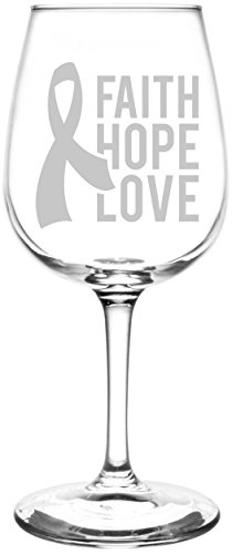 (Faith Hope Love Ribbon) Breast Cancer Awareness Inspired - Laser Engraved 12.75oz Libbey All-Purpose Wine Taster Glass by Appalachia Design Company