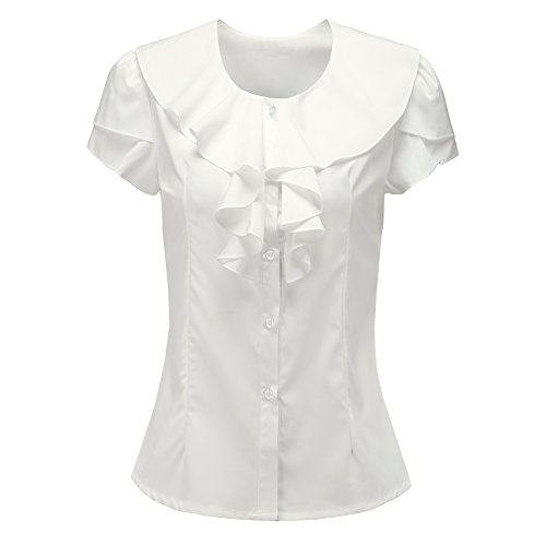 Y&Z Shirts For Women Short Sleeves Vintage Victoria Ruffle BS07 (L, - Ruffle Sleeve Short Shirt