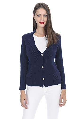 State Cashmere Women's 100% Cashmere Button-up Cardigan with Pockets - Womens Cashmere Ribbed Cardigan