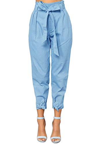 Yissang Women's Casual Loose Paper Bag Waist Long Pants Trousers with Bow Tie Belt Pockets Light Blue Small