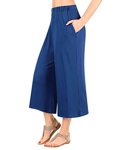 GlorySunshine Women's Elastic Waist Solid Palazzo Casual Wide Leg Pants with Pockets (2XL, Hunter Green) (Green Pants Dot Capri)