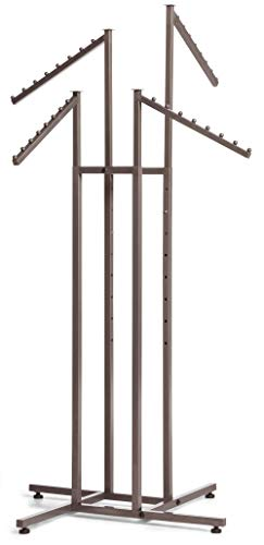 (SSWBasics 4-Way Clothing Rack with Slant Arms - Boutique Raw Steel)