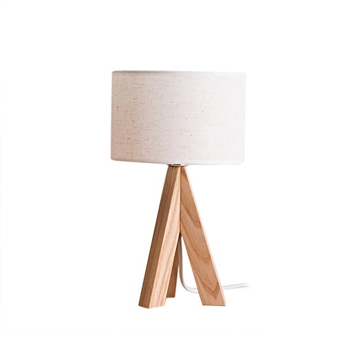 irealist desk lamp modern tripod wood table lamp with fabric shadewhite