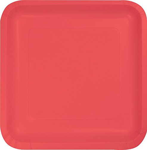 Creative Converting 463146 Touch of Color Square Dinner Plates, 18 ct, Coral