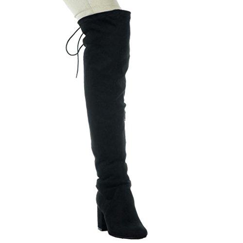 Alti Cm A Flessibile Scarpe Moda Tacco 5 Nero 2 Donna Merletto Stivali Blocco Da Angkorly UBw14T