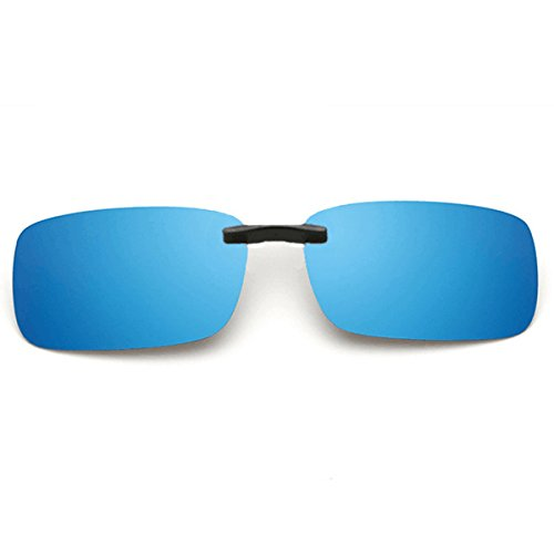 (Clip on Sunglasses Men's Titanium Flexible Polarized Lenses Glasses Laura Fairy(ice blue, 55))