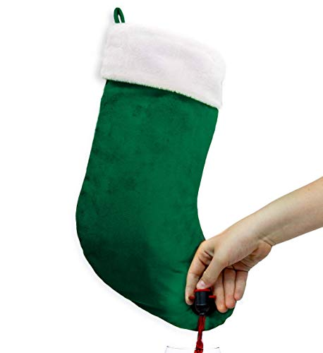 Sneeky Santa Green Stocking Wine Flask Dispenser Christmas Holiday Gift