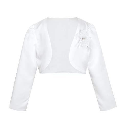 iEFiEL Girls Long Sleeves Bolero Jacket Shrug Short Cardigan Sweater Dress Cover Up White Shrug 9-12 Months