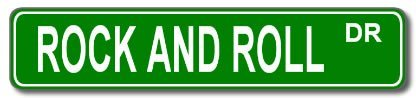 ROCK AND ROLL Street Sign Custom Sticker Decal Wall Window Door Art Vinyl Street Signs - 8.25
