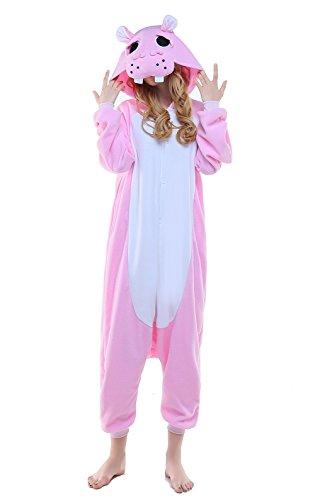 Newcosplay Adult Unisex Grassland Animals Image Onesie Costume (M, Pink hippo) ()
