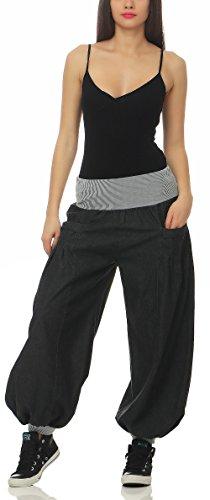 Aladin 6258 malito Femme Gris Fonc Unique Pantalon Pantalon style bouffant en Denim Taille 806Uq0wY