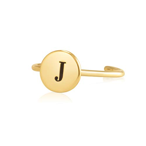 (Sterling Silver 18K Yellow Gold Plated Women's Disc Ring with Engraved Initial J)