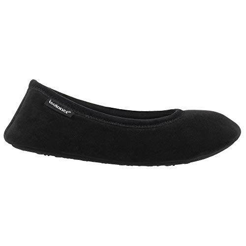 Stretch Ballet Flat - ISOTONER Women's Memory Foam Victoria Ballerina Slipper Stretch Velour Ballet Comfort House Shoe