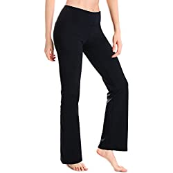 "Yogipace Petite Women's 29"" Bootcut Yoga Pants with Pockets Long Bootleg Flare Pants Black Size M"