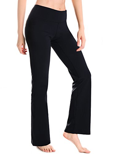 Yogipace Women's 33″ Bootcut Yoga Pants with Pockets Long Bootleg Flare Pants Black Size L