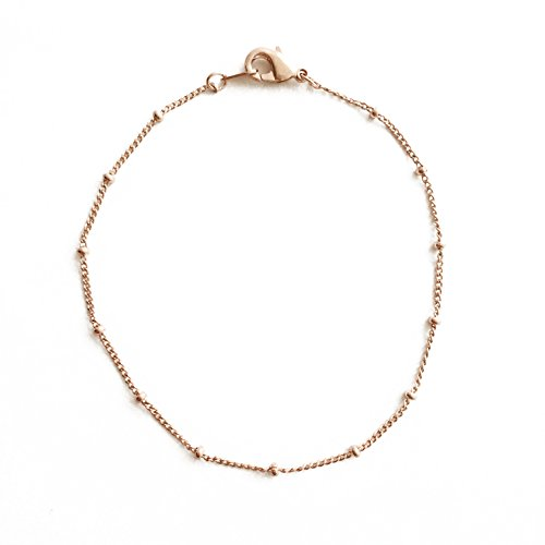 HONEYCAT Satellite Bead Ball Chain Bracelet in 18k Rose Gold Plate | Minimalist, Delicate Jewelry (RG)