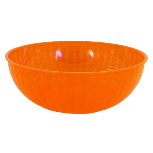 Party Essentials N192655 Heavy Duty Brights Plastic Large Serving Bowl, 192-Ounce Capacity, Neon Orange (Case of 6) (Case Bowl Serving)
