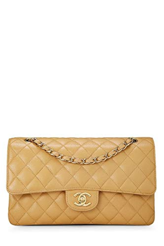 CHANEL Beige Quilted Caviar Classic Double Flap Medium (Pre-Owned)