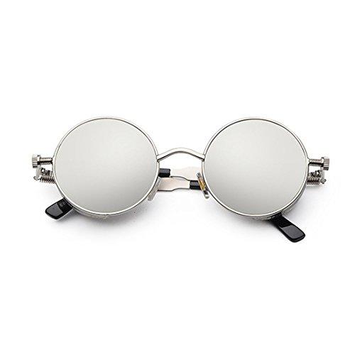 Plateado círculo Marco de Gafas de Lente de de sol Gafas Blanco color Yefree de moda retro sol metal de xqpzgU8Rw