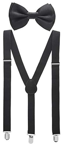 Man of Men - Bowtie & Suspender Sets - Solid Colors (Black) for $<!--$7.99-->