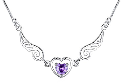 "Valentine Day Gifts Sterling Silver Platinum Plated Created Amethyst Gemstone Angel Wings Necklace & Purple Heart Pendant Necklace Birthday Gifts Girlfriend ""I Love You To The Moon and Back"" Gemstone Sterling Silver Square Pendant"