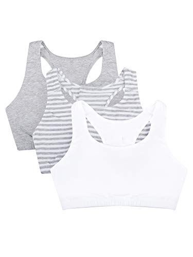 Fruit of the Loom Women's Built-Up Sports Bra 3 Pack Bra, Skinny Stripe/White/Heather Grey, 48