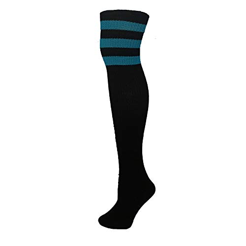 - AJs Classic Triple Stripes Retro Thigh High Tube Socks - Black, Turquoise, Sock size 11-13, Shoe Size 5 and up