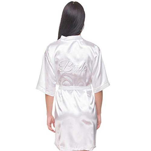 (Satin Bridal, Bridesmaid, Maid of Honor Robe with Real Embroidery (White - Bride in Silver, L-XL) )