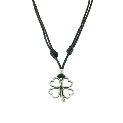 Metal Four Leaf Clover Pendant on Adjustable Cord Necklace (Old Silver) ()