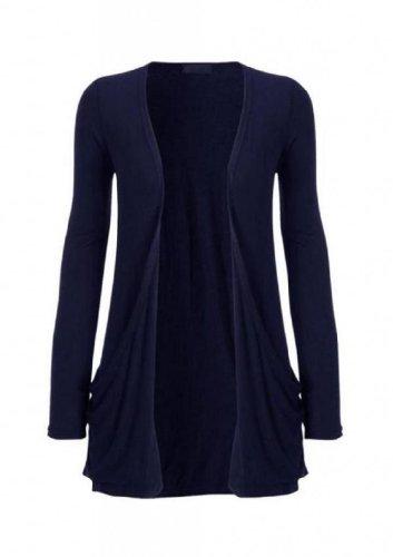 Hot Hanger Femme manches longues Cardigan haut : Color - Bleu marine : Size - 36-38 SM
