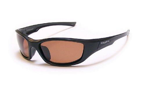 Coyote Eyewear P-19 Sportsman's P-Series Polarized Sport Sunglasses, Black/Brown